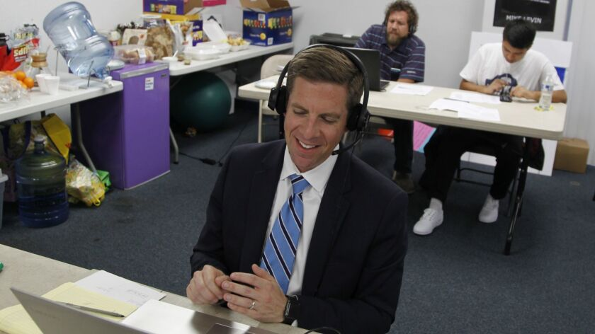 SAN DIEGO, CA June 5th 2018 | Mike Levin, congressional candidate for the 49th District, takes to th