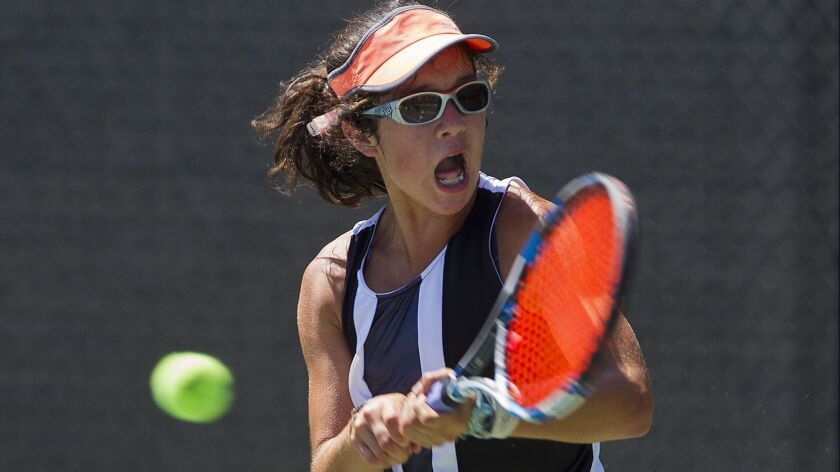 Newport Beach resident Rebecca Lynn, shown competing on June 26, 2017, has reached the round of 16 at Junior Sectionals in the 18s despite being just 13 years old.