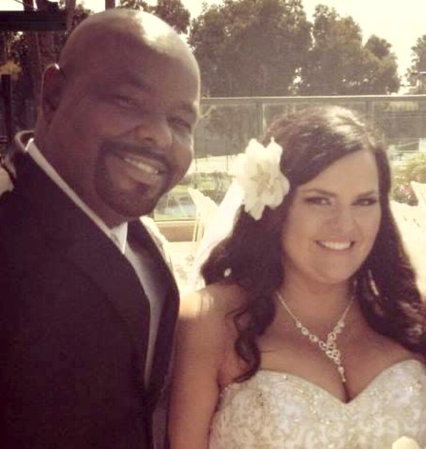 Kevin Fairman and his wife Brooke at their wedding on July 13, 2013.