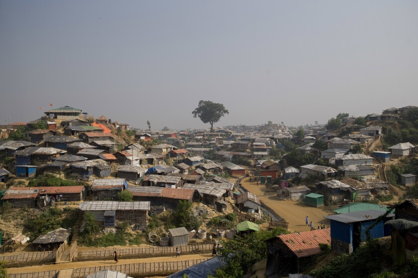 FILE - A Nov. 17, 2018 file photo of Balukhali refugee camp near Cox's Bazar, in Bangladesh. A Cabinet minister says authorities in Bangladesh will build barbed-wire fences around sprawling camps housing Rohingya refugees to stop their expansion. (AP Photo/Dar Yasin, File)