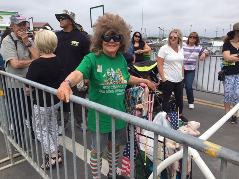 Escondido resident Margaret Austin was first in line, for the 32nd year in a row, for opening day at the San Diego County Fair on Friday.