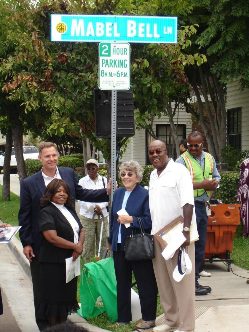 Scott Peters, Rev. Janet Swift, Danah Fayman and Charles Buchanan (Mabel Bell's nephew) during Bell's lane dedication, Aug. 14, 2008.