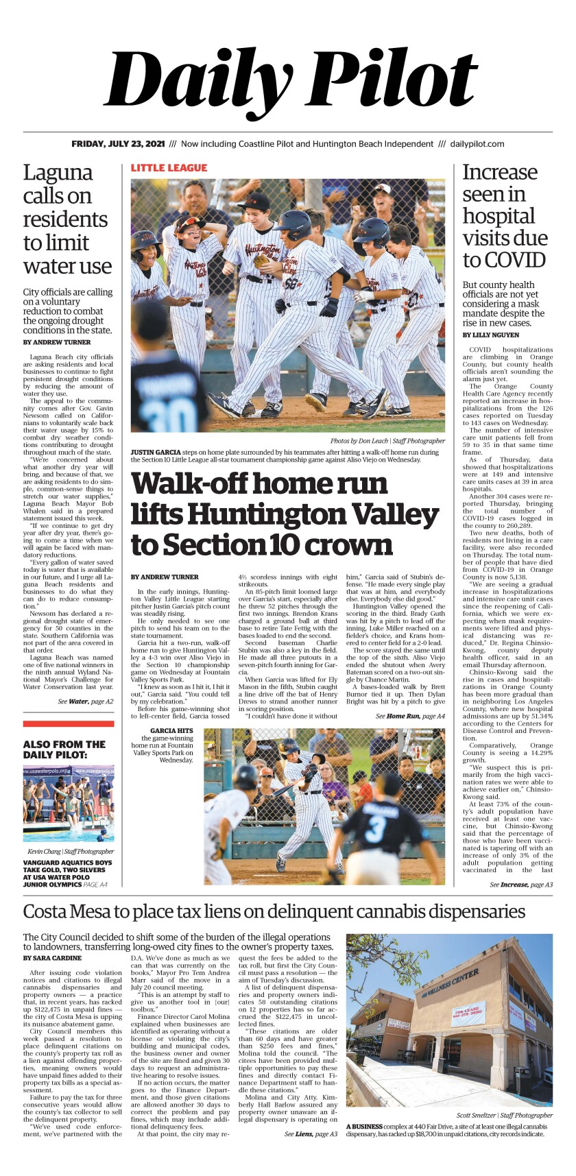 Front page of Daily Pilot e-newspaper for Friday, July 23, 2021.