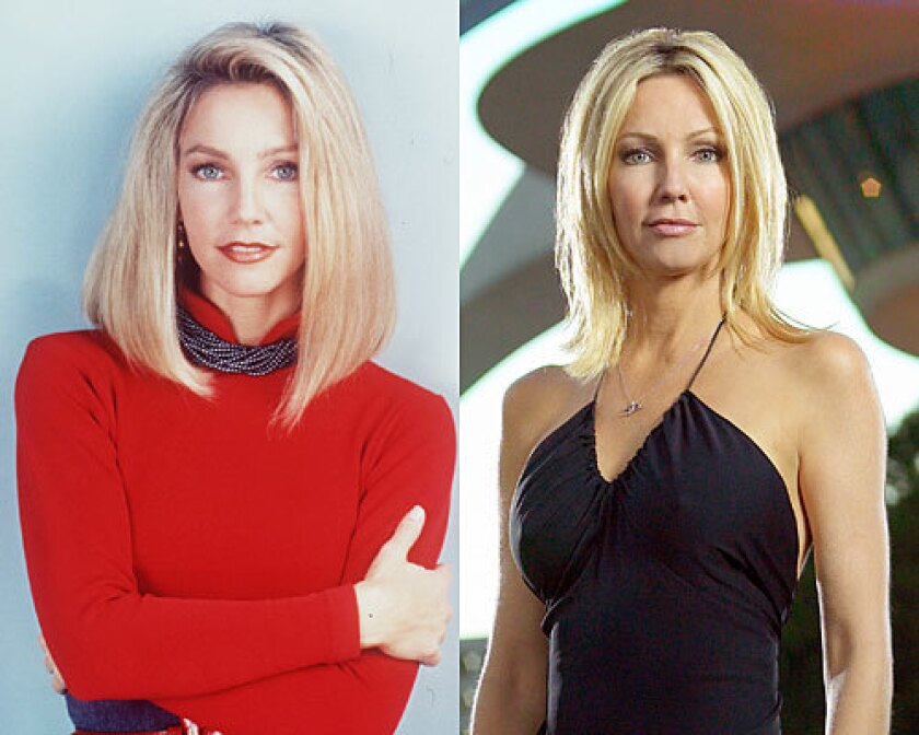 """Heather Locklear as her """"Melrose Place"""" character, left, recently joined her fellow cast members for a video chat for coronavirus relief."""
