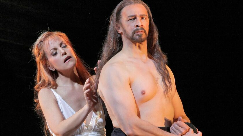 """Lise Lindstrom as Salome and Greer Grimsley as John the Baptist in in San Diego Opera's """"Salome"""" in 2012. The duo will reteam Saturday for """"One Amazing Night,"""" a dual recital with the San Diego Symphony."""