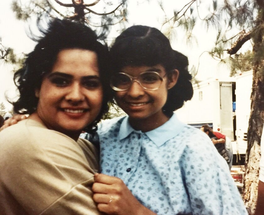 "L-R: Co-stars Ingrid Oliu and Vanessa Marquez on the set of ""Stand and Deliver"" in 1986.(Photo court"