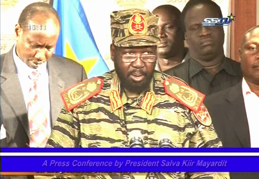 South Sudan President Salva Kiir speaks to the nation in a televised address in Juba.