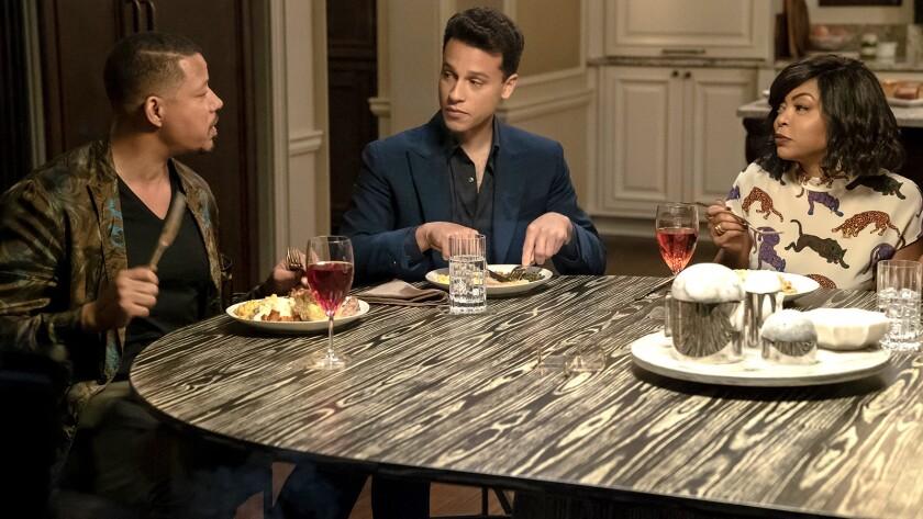 "Terrence Howard, left, A.Z. Kelsey and Taraji P. Henson in ""Empire"" on Fox."