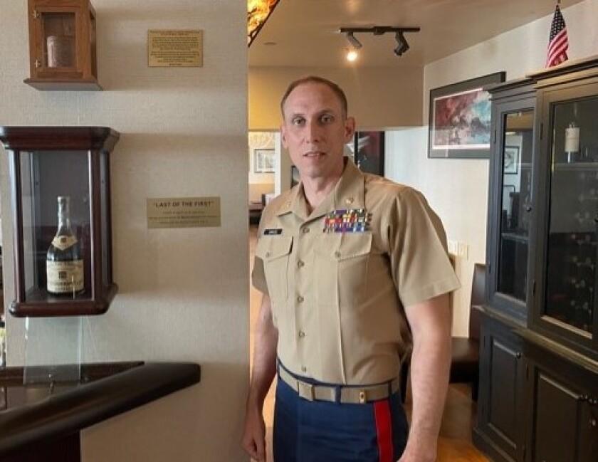 Marine Corps Maj. David Samuel at Marines' Memorial Club  First Last Salute