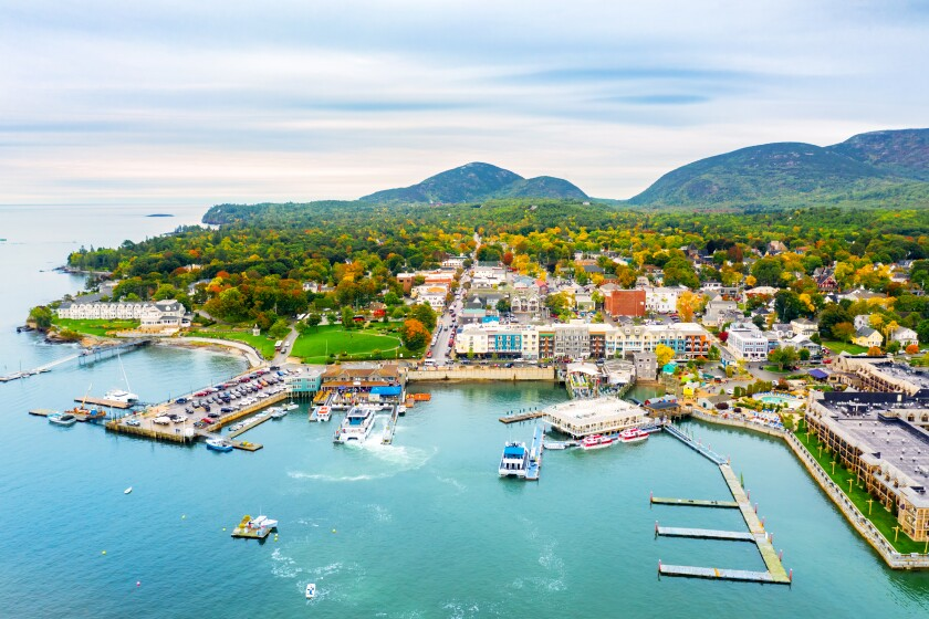 Aerial view of Bar Harbor, Maine.