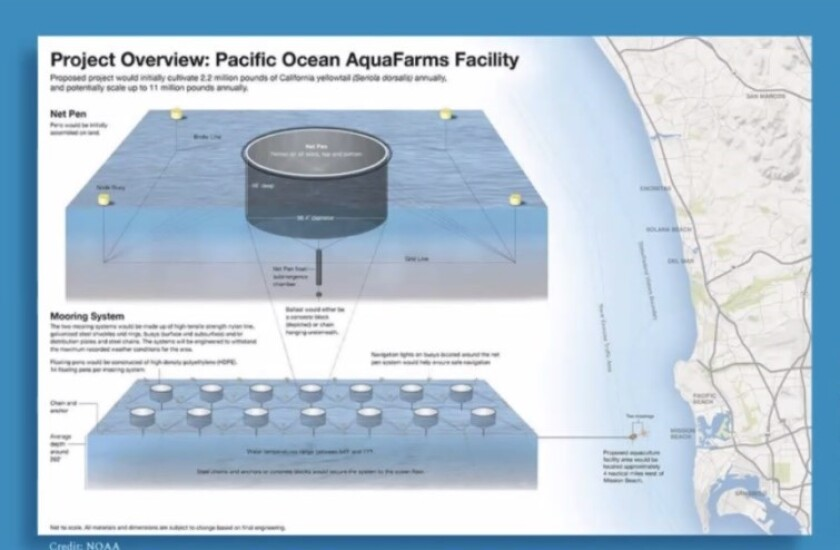 The Pacific Ocean AquaFarms project would encompass 719 acres off the coast of Bird Rock and Mission Beach.