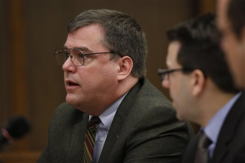 Indiana University professor Fred H. Cate testifies during a Senate hearing in Philadelphia, Monday, March 29, 2010. Experts invited to speak debated whether secret video recordings should fall under the federal wiretap statute. (AP Photo/Matt Rourke)