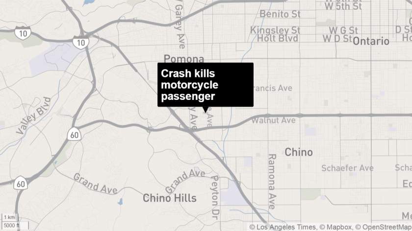 Motorcycle passenger was killed and its driver injured after colliding with a car in Pomona.