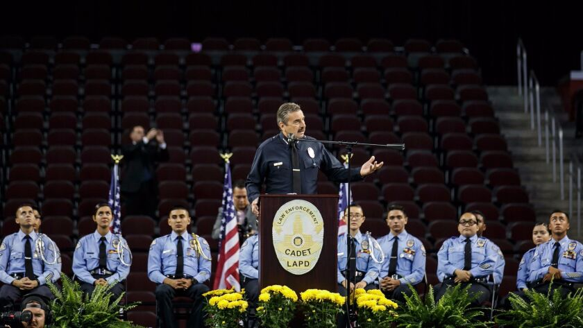 "LAPD Chief Charlie Beck addresses the department's cadets at a graduation ceremony last month. ""Our"