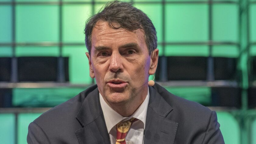 Tim Draper, a Silicon Valley venture capitalist, in November speaking at a web conference in Lisbon. He's behind the November ballot measure to split California into three separate states.