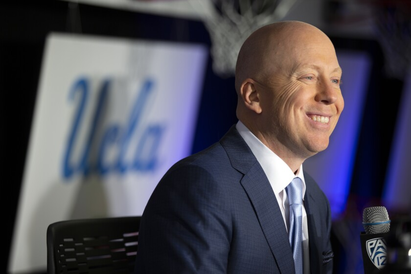 UCLA coach Mick Cronin speaks during the Pac-12 media day in San Francisco on Oct. 8.