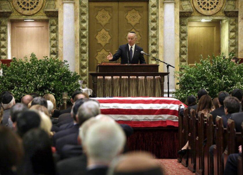 Vice President Joe Biden speaks during the funeral for New Jersey Sen. Frank Lautenberg in New York's Park Avenue Synagogue.
