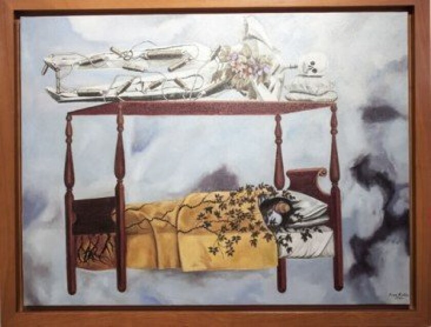 The painted rendition of Frida's bed.