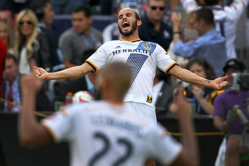 Landon Donovan celebrates the Galaxy's MLS Cup championship on Dec. 7, 2014.