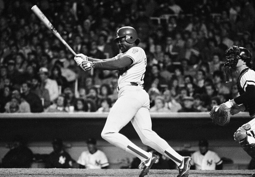 The Dodgers' Pedro Guerrero follows through after connecting on a New York Yankees pitch in a World Series game on Oct. 28, 1981.
