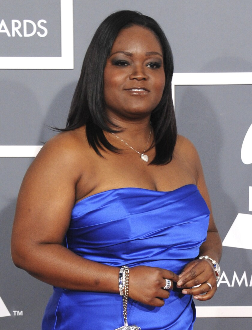 FILE - Singer Shemekia Copeland arrives at the 55th annual Grammy Awards on Feb. 10, 2013, in Los Angeles. Copeland won the B.B. King Entertainer of the Year award, the show's top honor, at the Blues Music Awards held in Memphis, Tennessee. She also won the contemporary blues female artist and the contemporary blues album awards. (Photo by Jordan Strauss/Invision/AP, File)