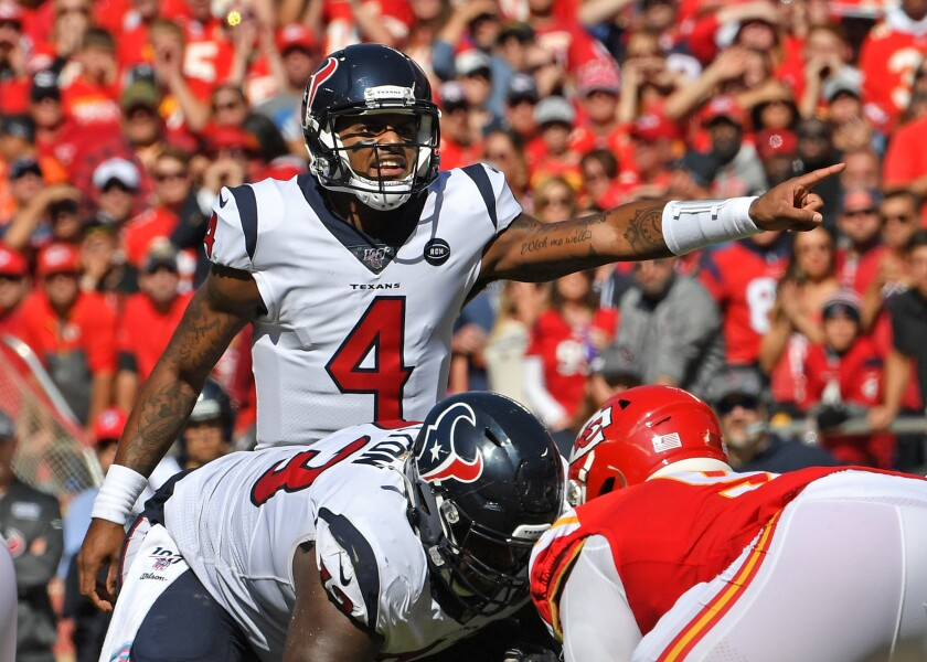 The Houston Texans, led bv quarterback Deshaun Watson, were underdogs at Kansas City and won and are underdogs again this week.