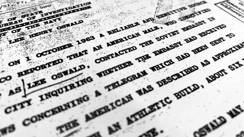 """Part of a CIA file, dated Oct. 10, 1963, details a report from """"a reliable and sensitive source in Mexico"""" about Lee Harvey Oswald's contact with the Soviet Embassy in Mexico City."""