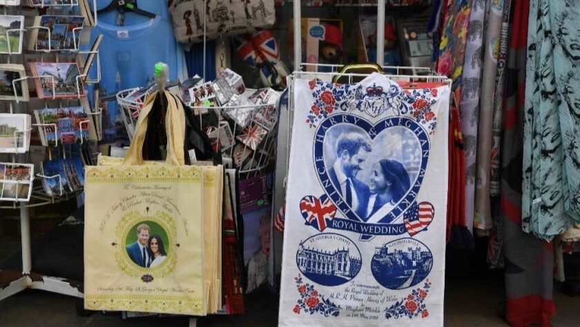 Royal wedding souvenirs are seen in a gift shop in Windsor on Friday, the day before the royal wedding of Britain's Prince Harry and American actress Meghan Markle at St George's Chapel in Windsor Castle.