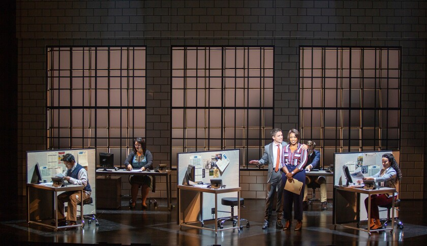 (center) Matt Doyle as Bobby and Patrice Covington as Roz with the cast of The Heart of Rock & Roll,