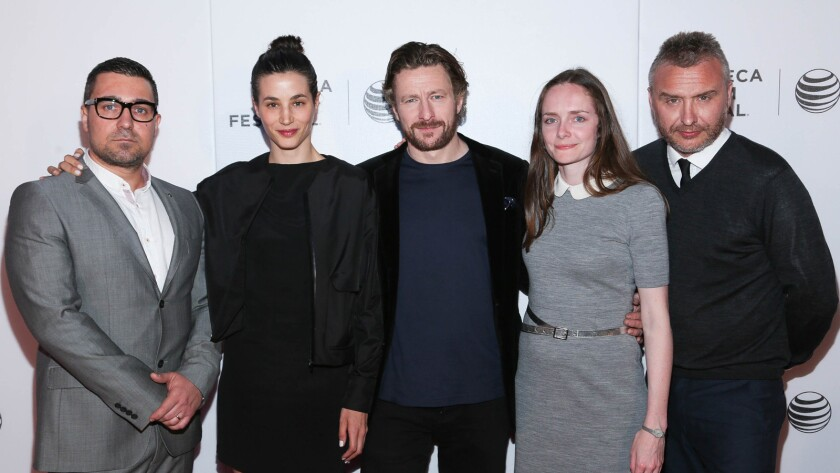 """From left, Orli Shuka, Elisa Lasowski, Peter Ferdinando, producer Joanna Laurie and director Gerard Johnson attend the premiere of """"Hyena"""" during the 2015 Tribeca Film Festival."""