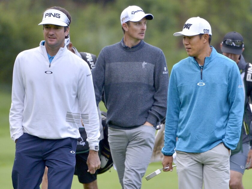Bubba Watson, Justin Rose and James Hahn walk to the 12th tee during the first round of the Northern Trust Open golf tournament, Thursday, Feb. 18, 2016 in Pacific Palisades, Calif. (John McCoy/Los Angeles Daily News via AP)  NO SALES; MAGS OUT; HILLS OUT, LOS ANGELES TIMES OUT; VENTURA COUNTY STAR
