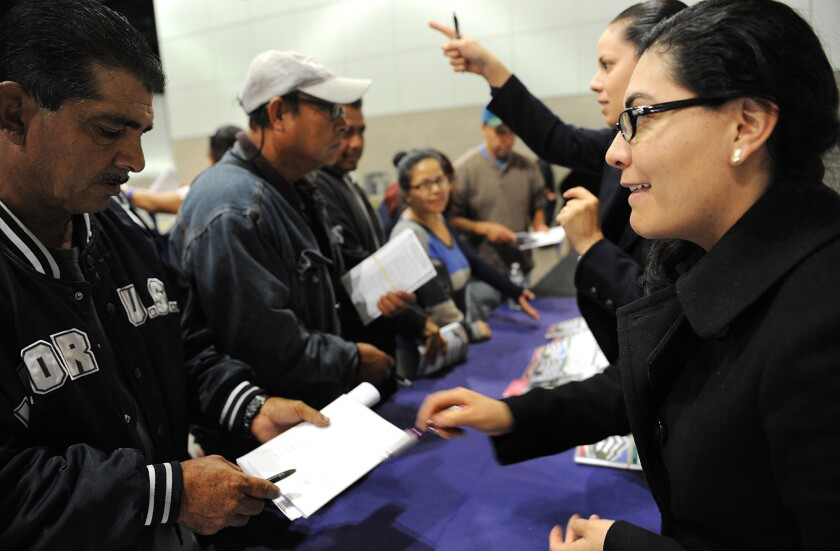 Immigrants receive help at a Mexican Consulate in Los Angeles