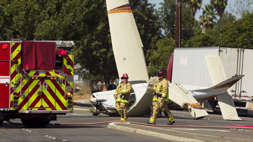 Firefighters responded to a small plane in El Cajon Sunday afternoon. Two people onboard were not se