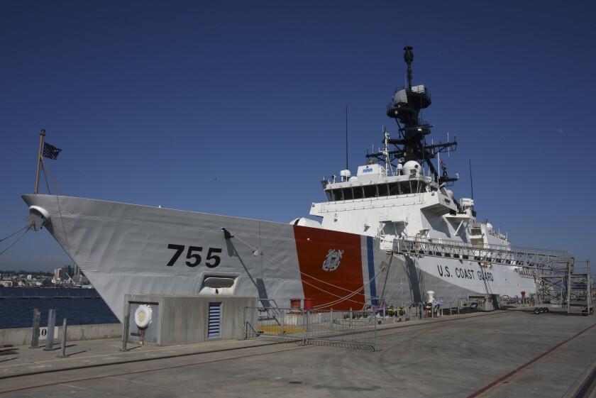 The Coast Guard Cutter Douglas Munro sits pier side at Naval Base Coronado in Coronado, California, July 11, 2019.
