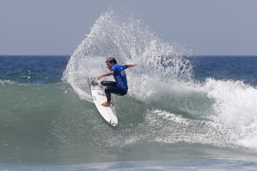 Taj Lindhald of San Clemente competes during the men?s open finals at the National Scholastic Surfin