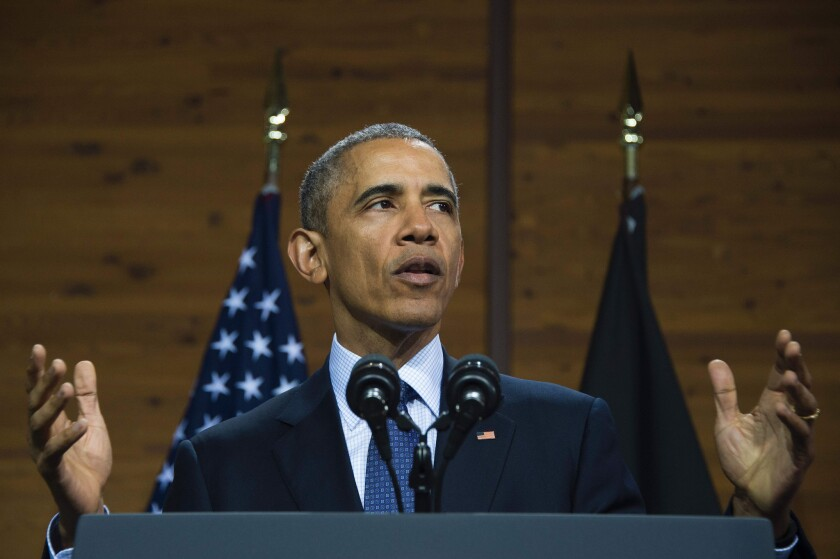 President Obama speaks at the Hanover Fair trade show Sunday in Germany.