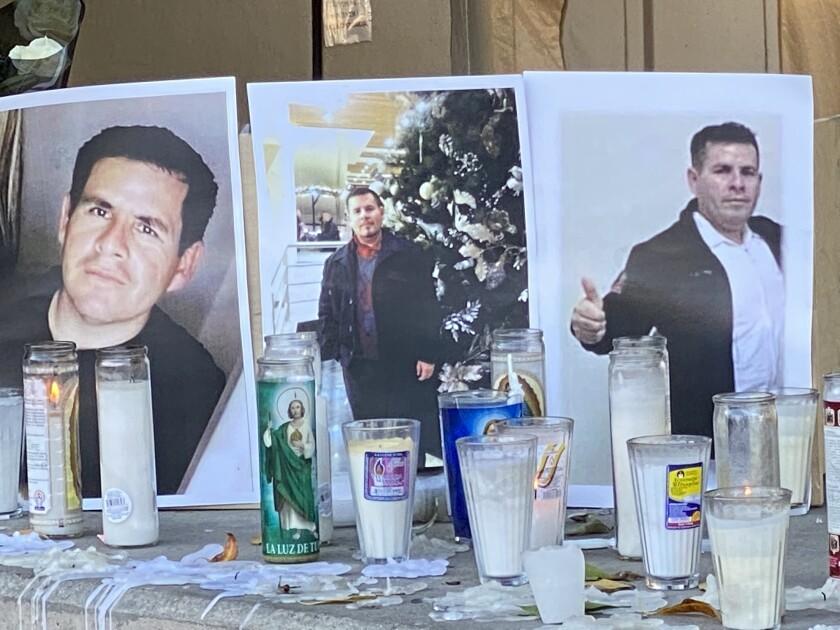 A memorial for Luis Rigoberto García Medina is set up outside Hospital General in Tijuana.