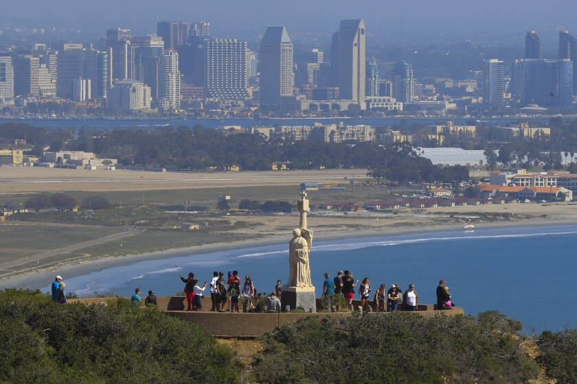 The statue of Juan Rodriguez Cabrillo is one of the iconic attractions of the Cabrillo National Monument in Point Loma.