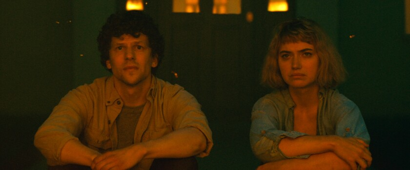 "Jesse Eisenberg and Imogen Poots in ""Vivarium."""