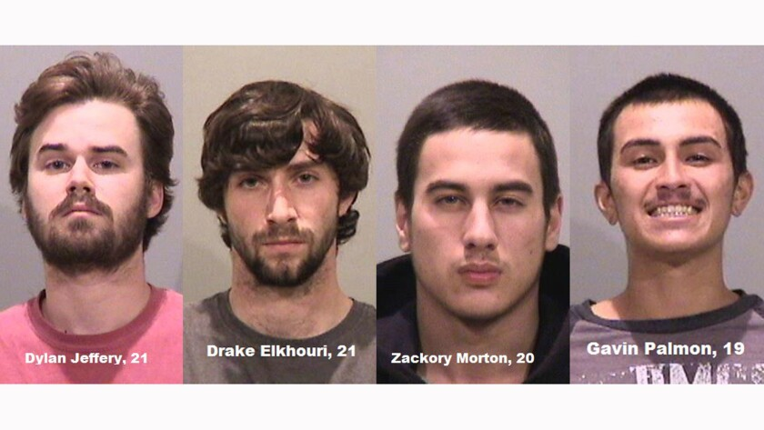 Four men were arrested in connection to the May 21 slashing of the Alameda Creek Dam. Left to right, Dylan Jeffery, Drake Elkhouri, Zachary Morton, and Gavin Palmon.
