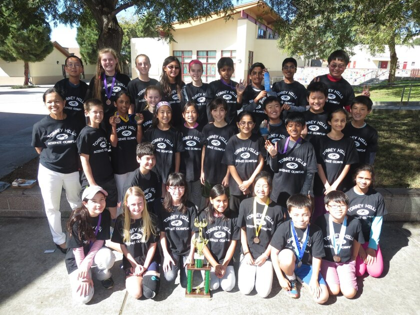 The Torrey Hills Science Olympiad Team won seventh place at the regional competition at Rancho Bernardo High School recently. Courtesy photos