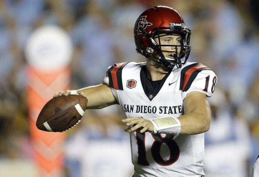 San Diego State quarterback Quinn Kaehler (18) looks to pass against North Carolina.