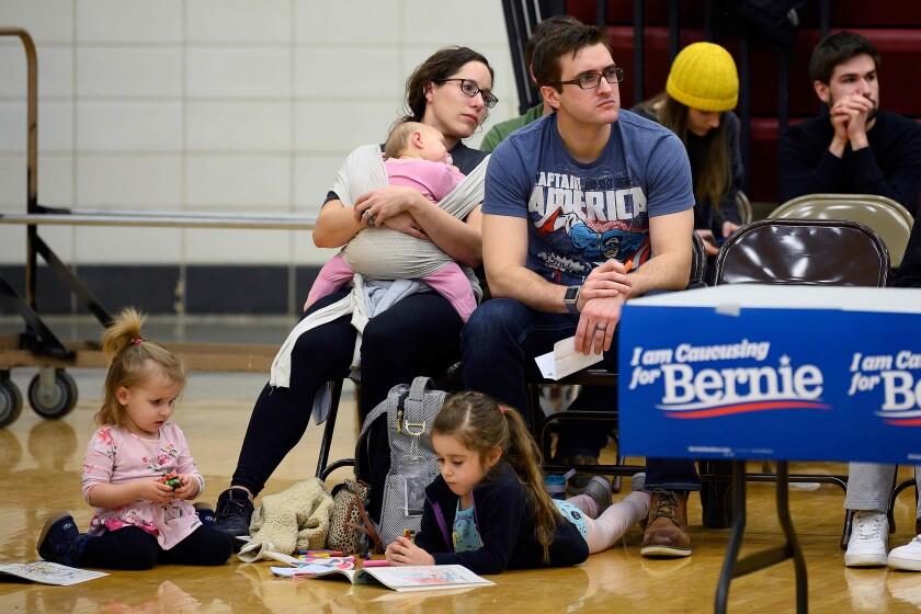 Bernie Sanders supporters at an Iowa caucus