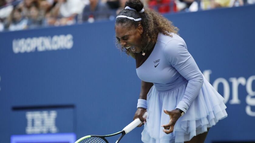 Serena Williams reacts after a point against Kaia Kanepi, of Estonia, during the fourth round of the