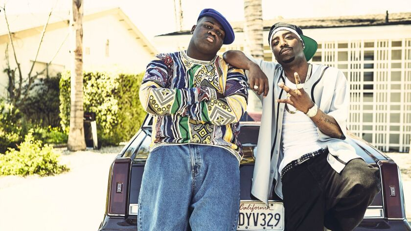"""Wavyy Jonez as Christopher """"Biggie"""" Wallace and Marcc Rose as Tupac Shakur in the true USA Network crime drama anthology, """"Unsolved: The Murders of Tupac & The Notorious B.I.G."""""""