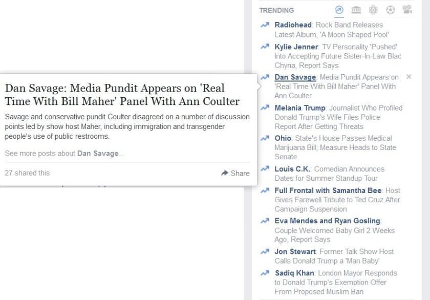 A screen shot of Facebook's Trending Topics