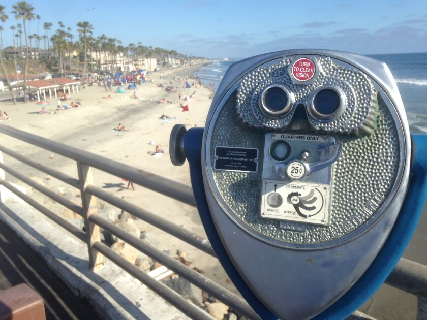 A coin-operated binocular awaits quarters on the Oceanside pier.