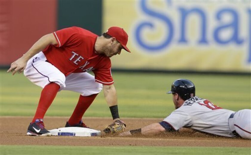 Texas Rangers second baseman Ian Kinsler (5) tags out Minnesota Twins' Chris Herrmann, right, on a stolen base attempt in the first inning of a baseball game, Saturday, Aug. 31, 2013, in Arlington, Texas. The play developed with the Twins' Josh Willingham at bat. (AP Photo/Tony Gutierrez)
