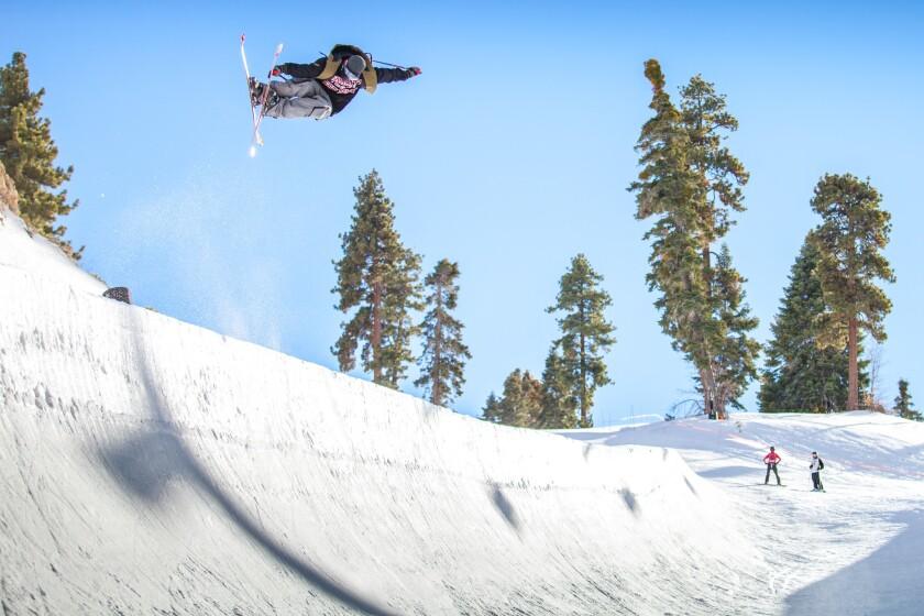 Boarder Craig Coker tackles a mini-pipe at Big Bear Mountain.