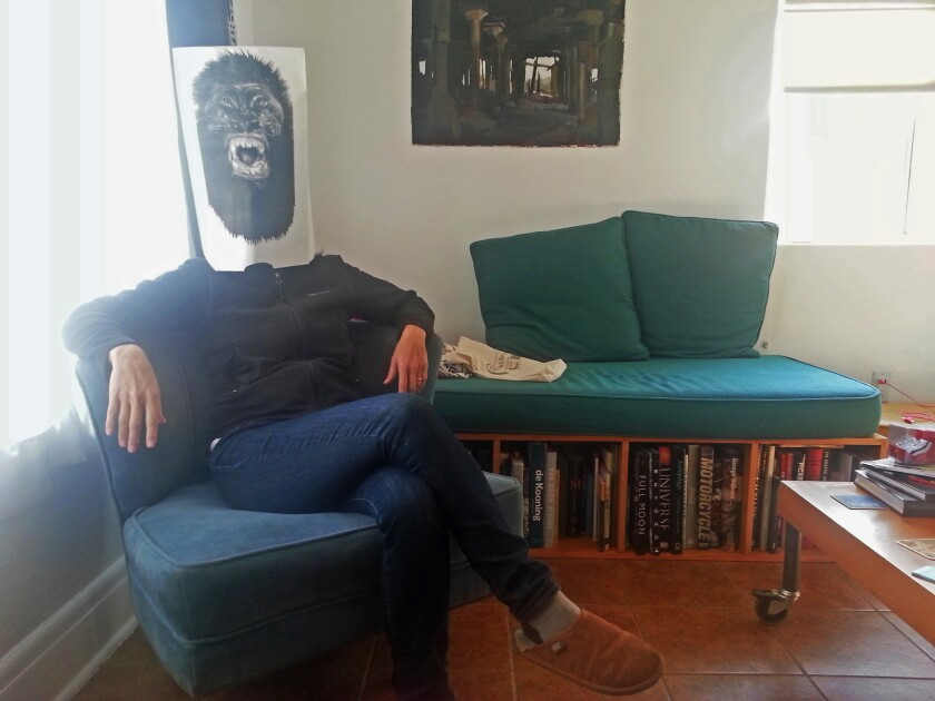 My favorite purchase from the L.A. Art Book Fair: A Guerrilla Girls mask, acquired at the Guerrilla Girls table for $10. A total bargain.